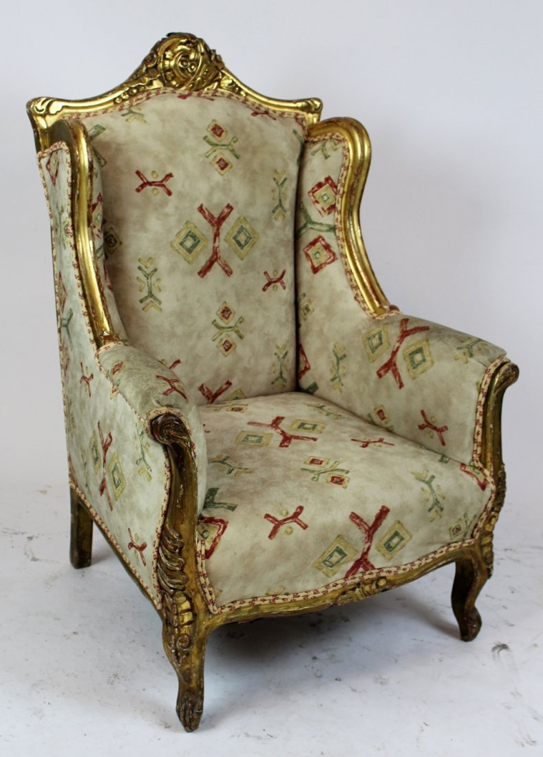 Louis XV style gilt painted bergere