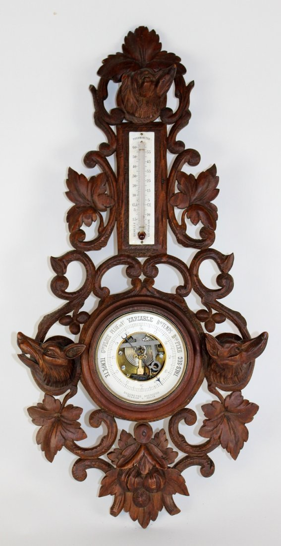 Antique French barometer & thermometer