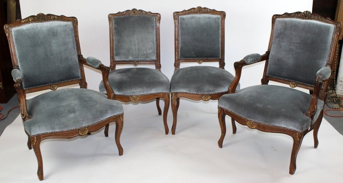 Set of 4 Regency style upholstered chairs