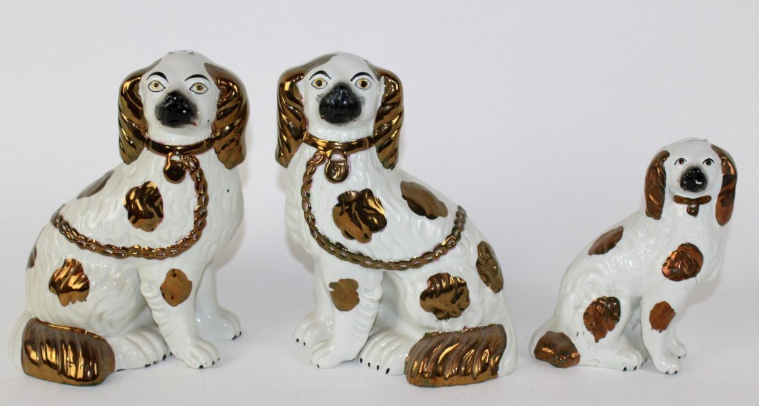 Grouping of 3 English Staffordshire dogs