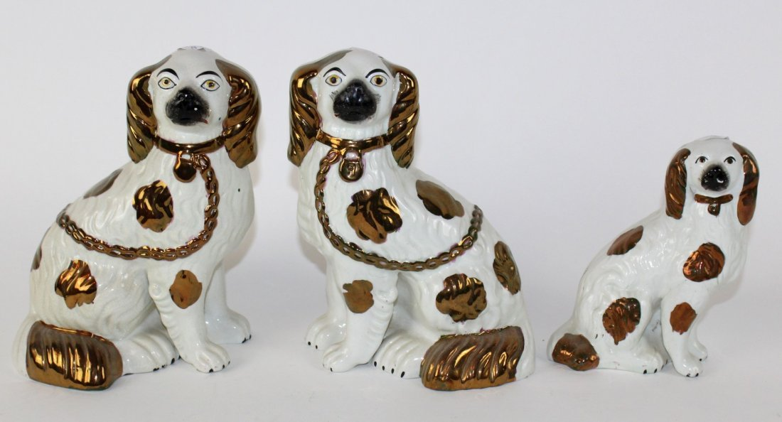 Grouping of 3 English Staffordshire dogs - 2