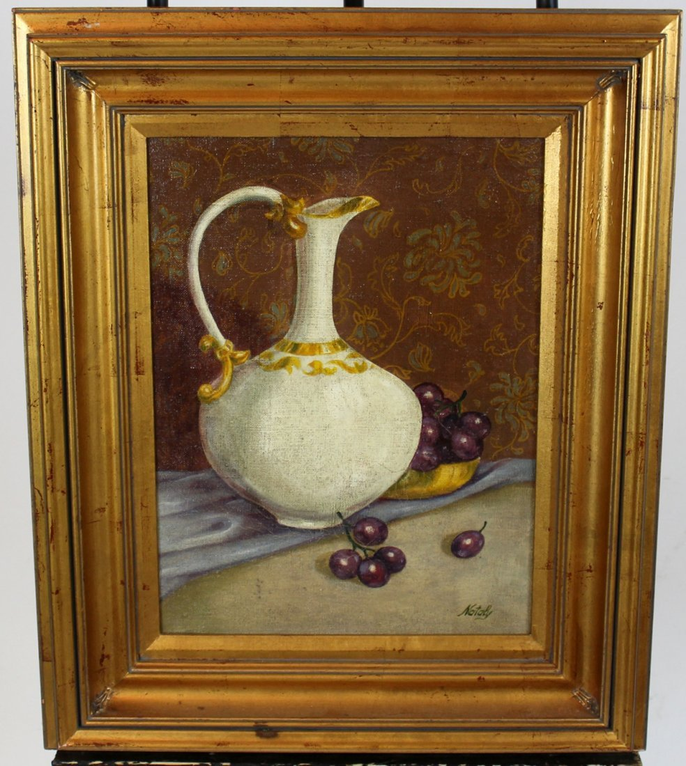 Oil on canvas stillife with grapes