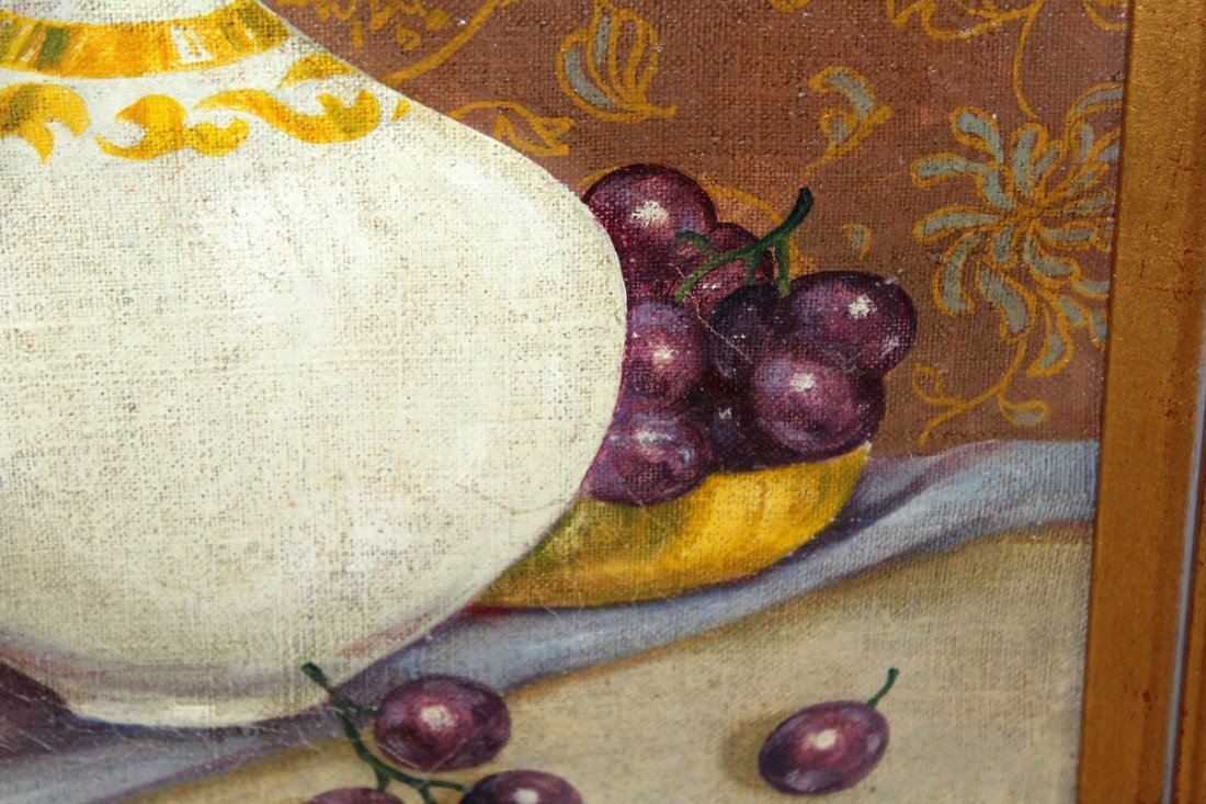 Oil on canvas stillife with grapes - 2