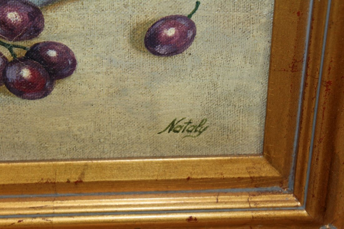 Oil on canvas stillife with grapes - 3