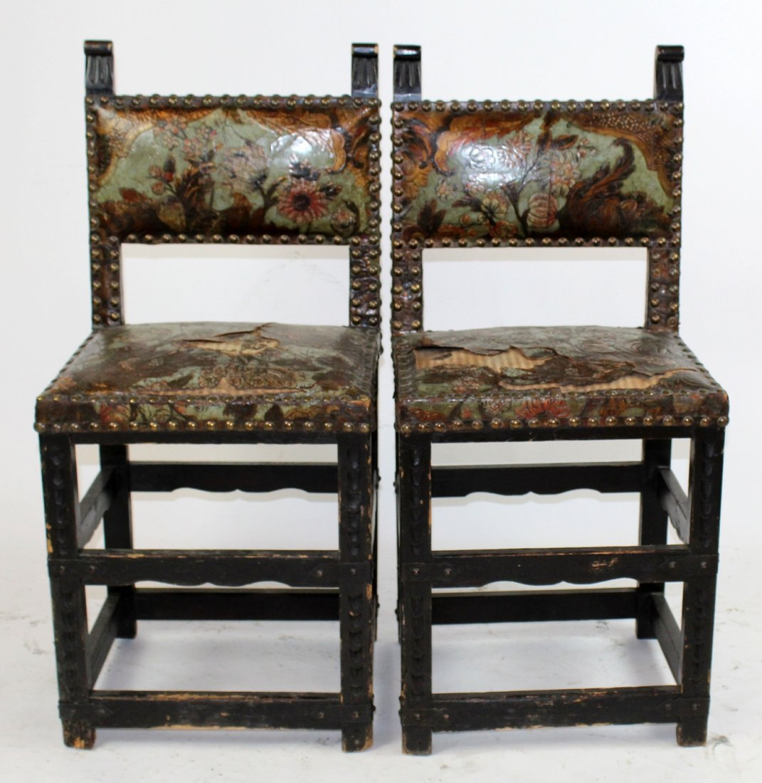 Pair 18th c Portugese chairs with leather