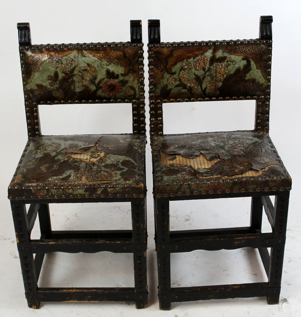 Pair 18th c Portugese chairs with leather - 2