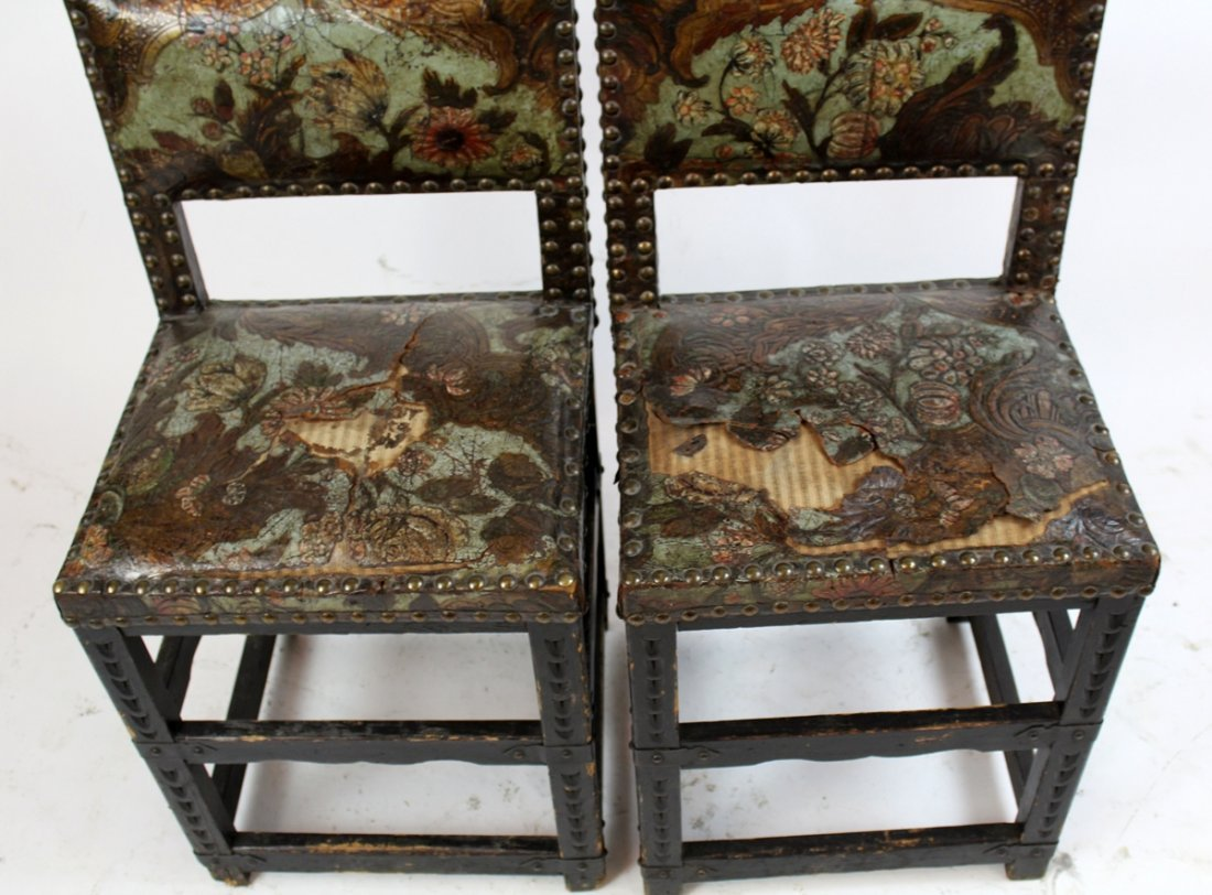 Pair 18th c Portugese chairs with leather - 3