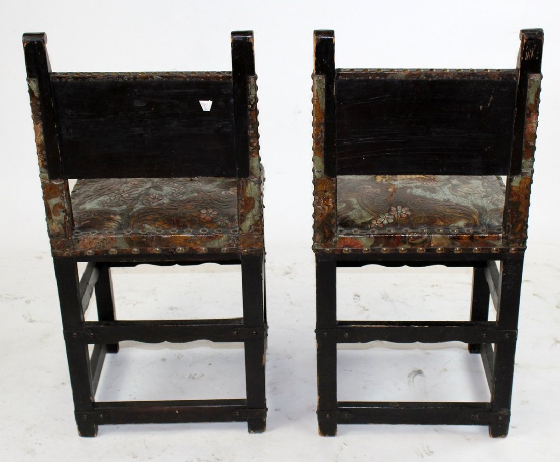 Pair 18th c Portugese chairs with leather - 4