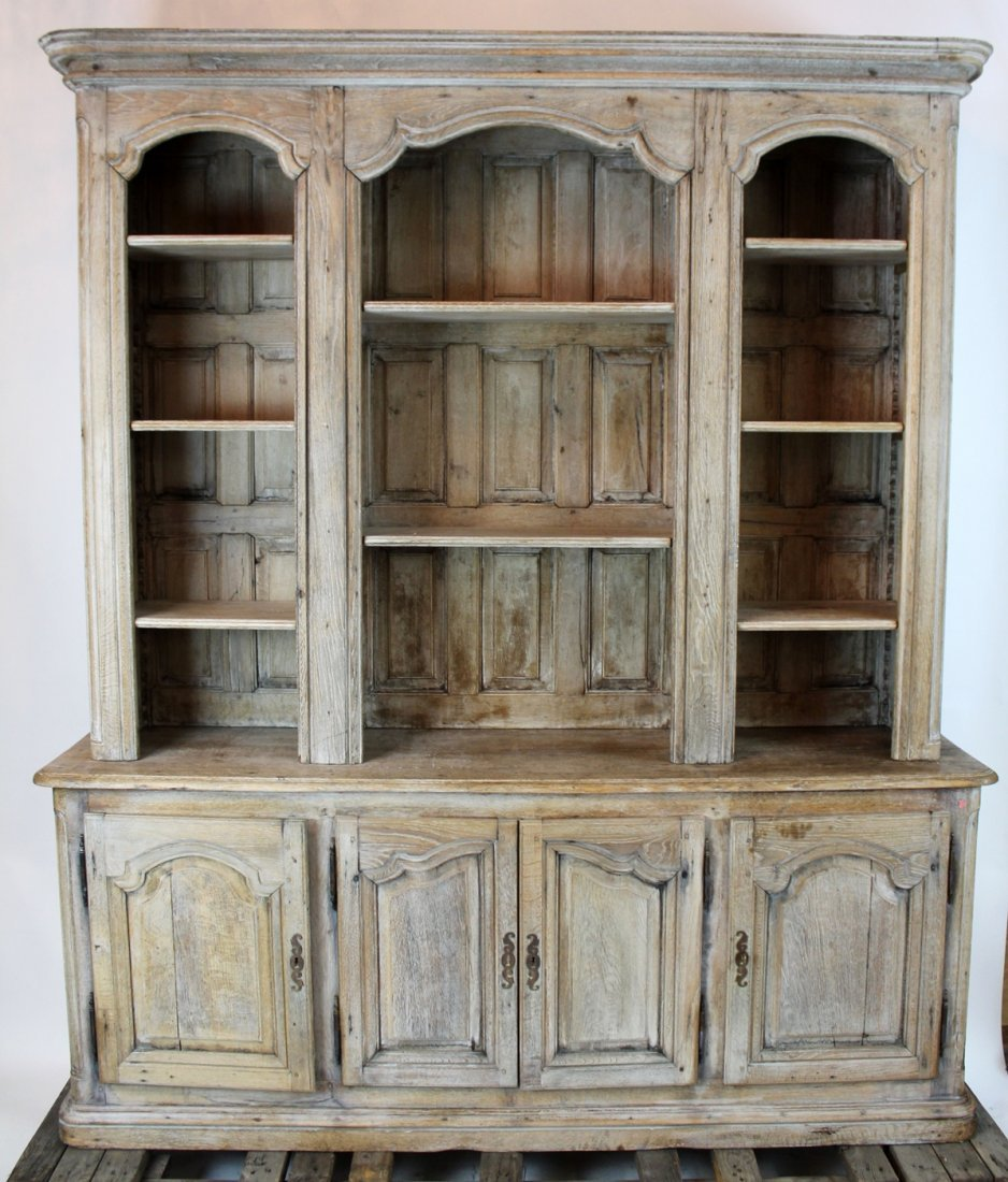19th c French Provincial bleached oak bookcase