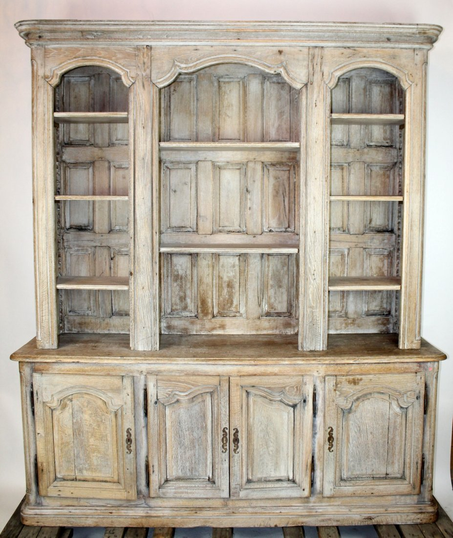 19th c French Provincial bleached oak bookcase - 4