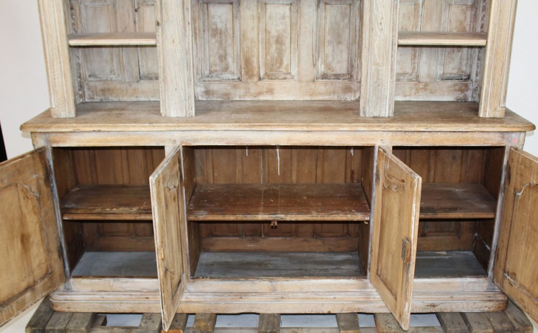 19th c French Provincial bleached oak bookcase - 5