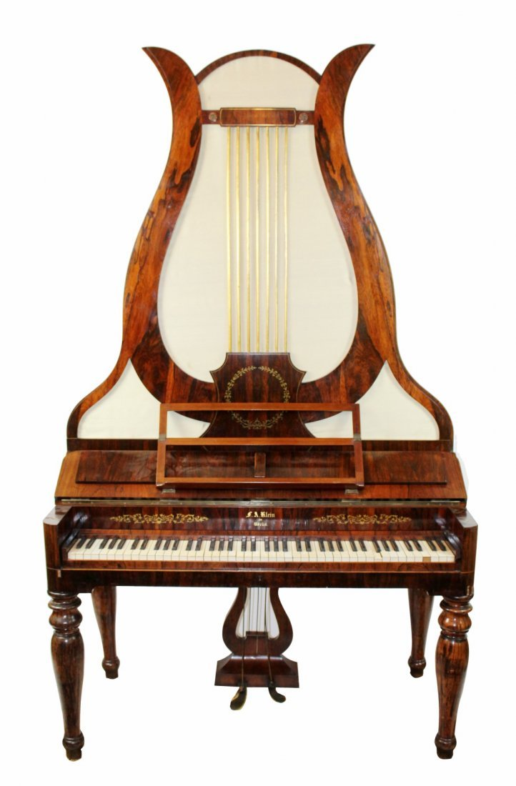 German FA Klein lyre piano in rosewood
