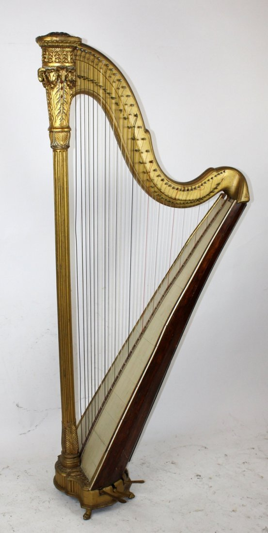 Antique French giltwood harp
