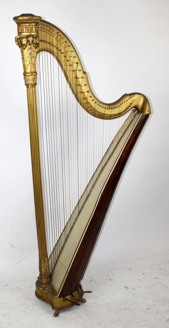 Antique French giltwood harp - 2