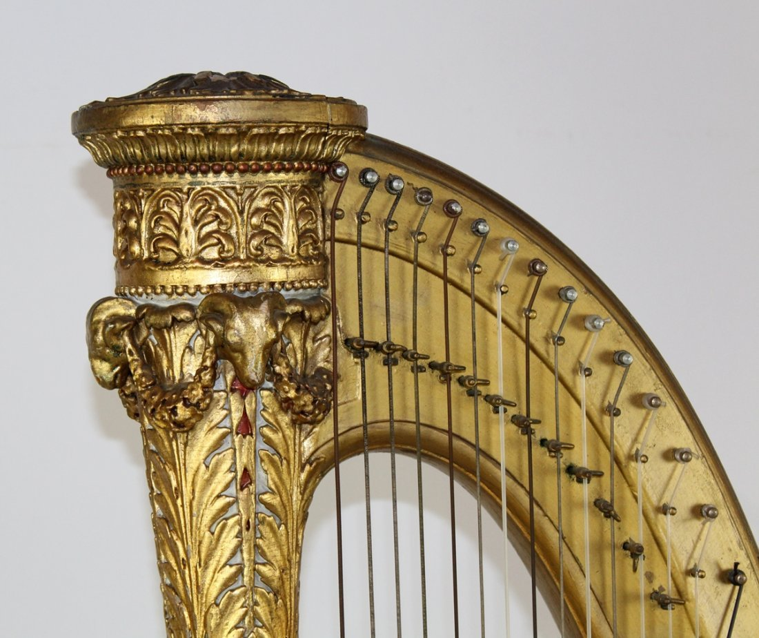 Antique French giltwood harp - 3