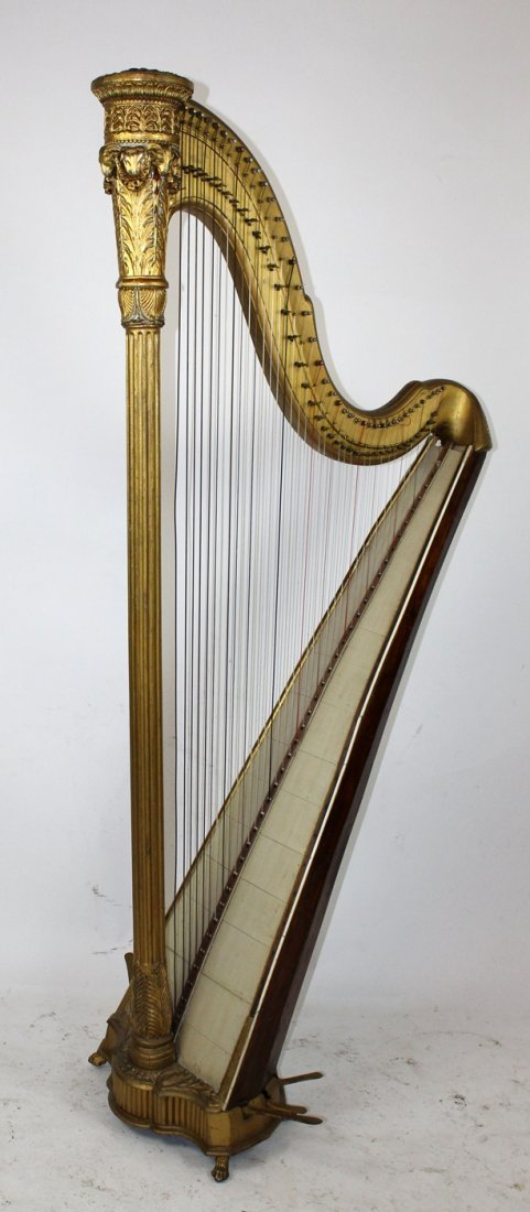 Antique French giltwood harp - 4