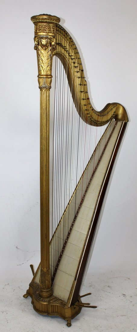 Antique French giltwood harp - 5