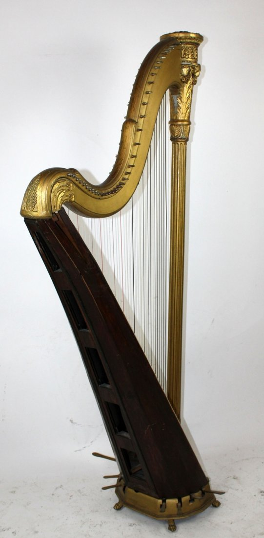 Antique French giltwood harp - 6