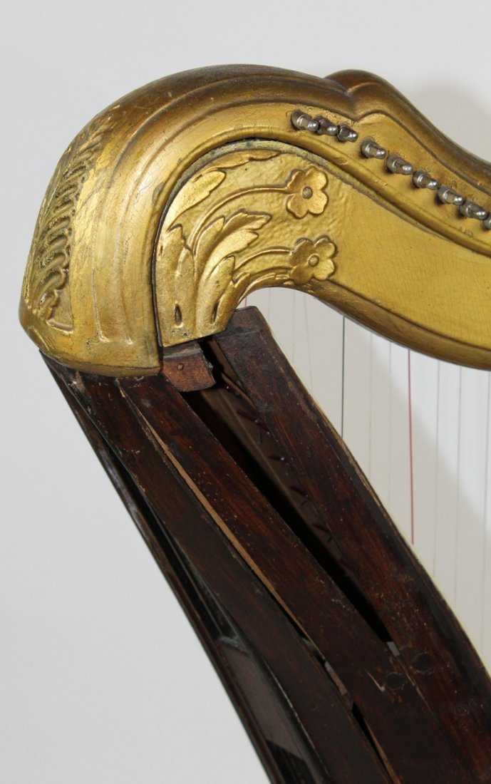 Antique French giltwood harp - 7