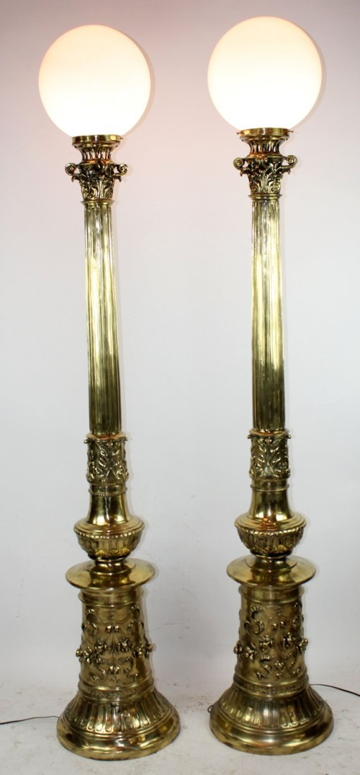 Pair Antique American polished bronze torcheres