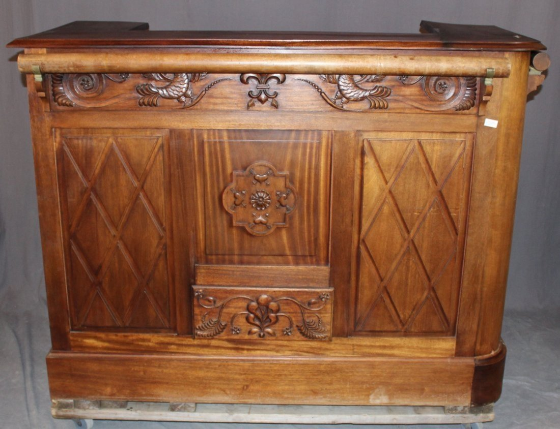 French carved walnut front bar