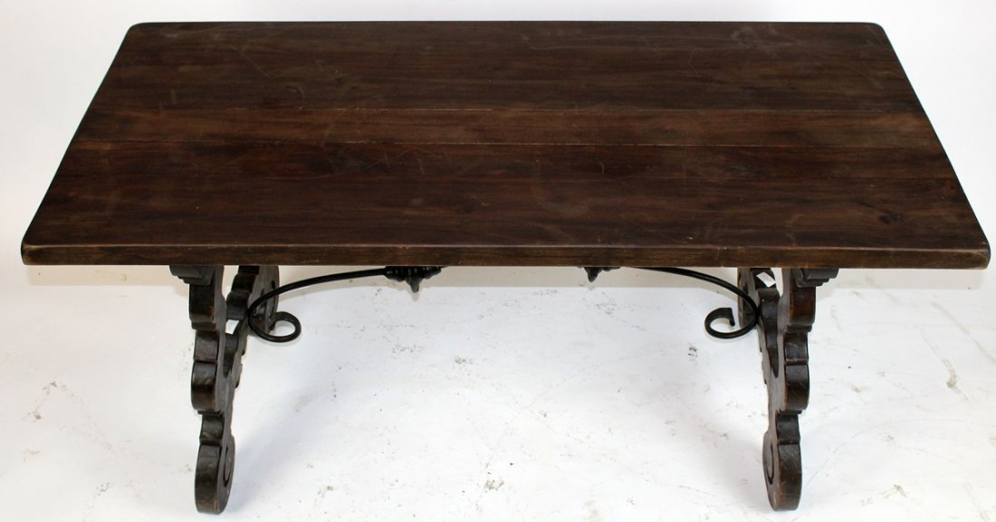 Spanish trestle table with iron stretcher - 2