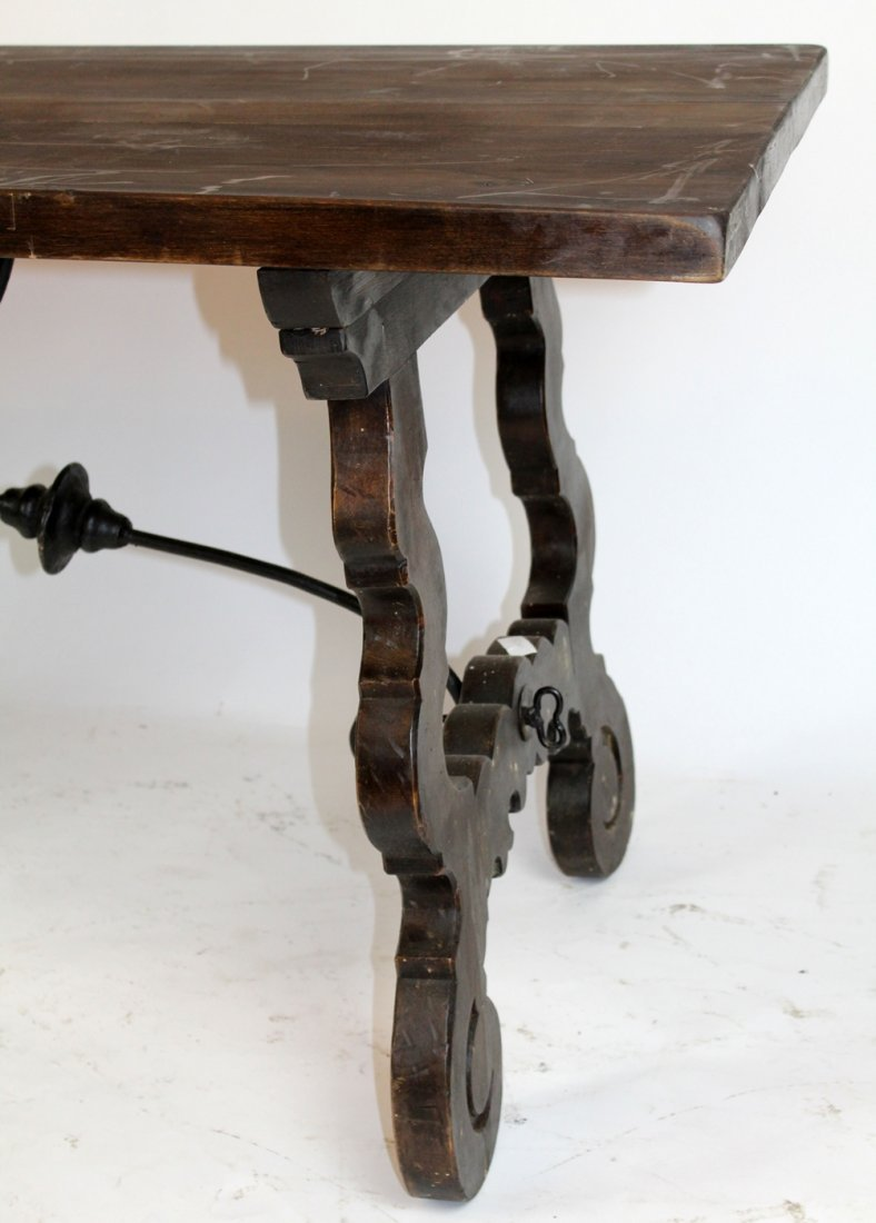 Spanish trestle table with iron stretcher - 3