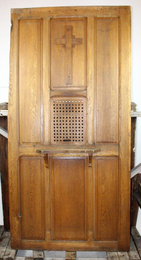 Antique oak confessional door