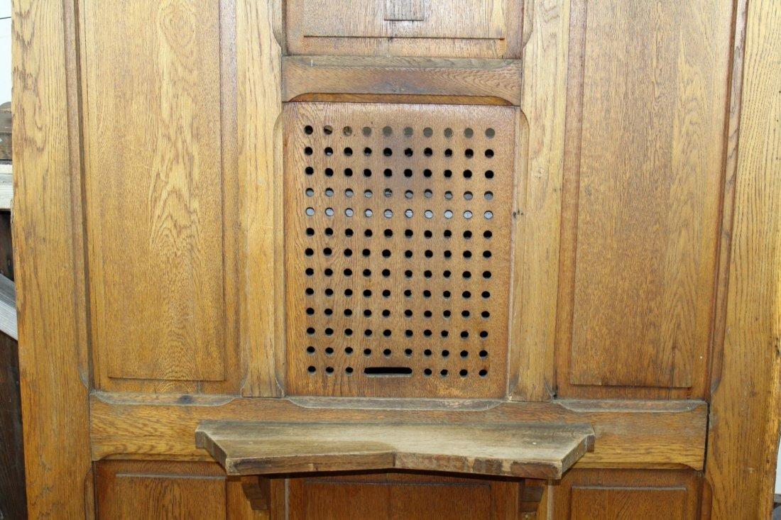Antique oak confessional door - 2