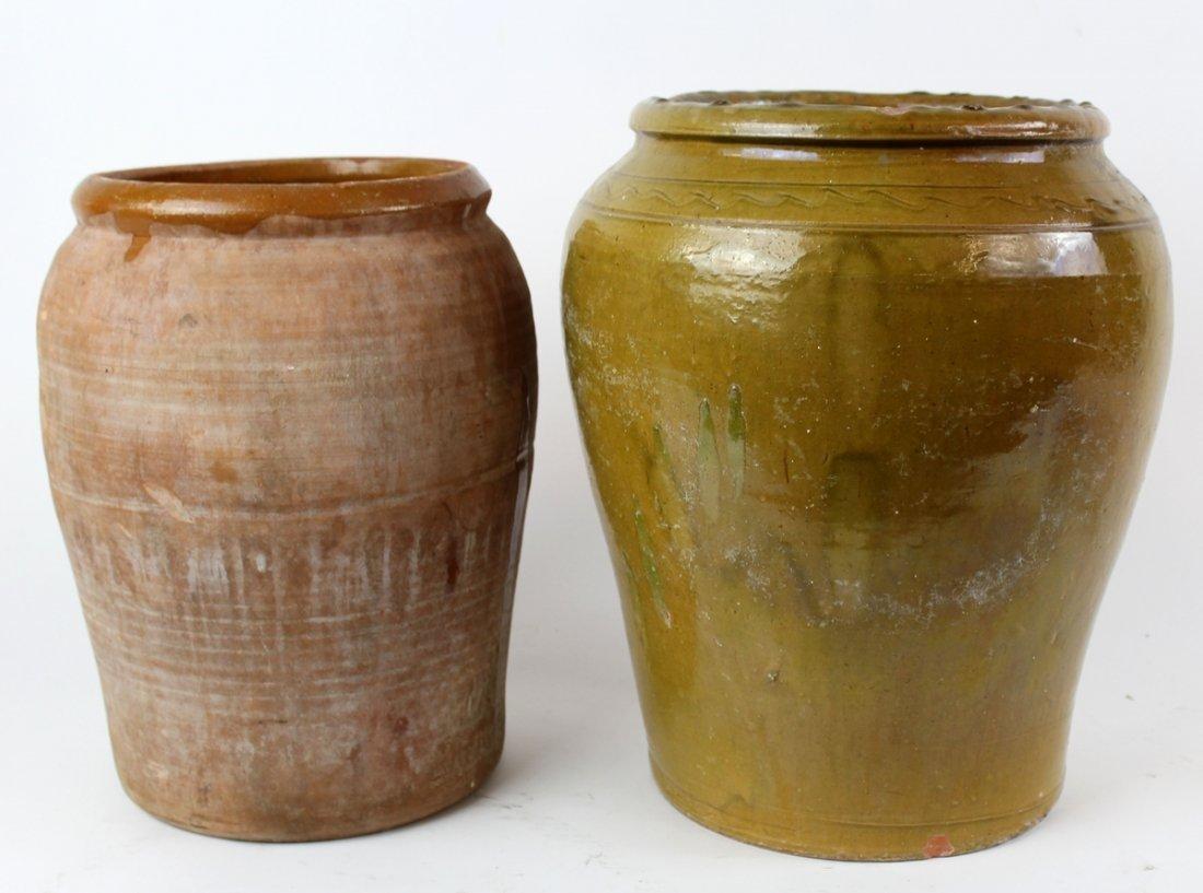 Lot of 2 French slip glazed terra cotta pots