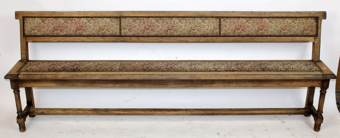 Antique French oak train bench