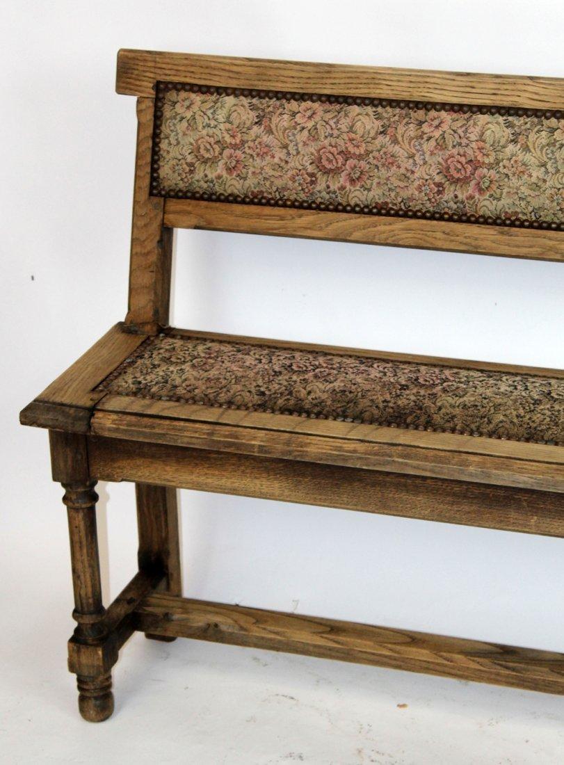 Antique French oak train bench - 2