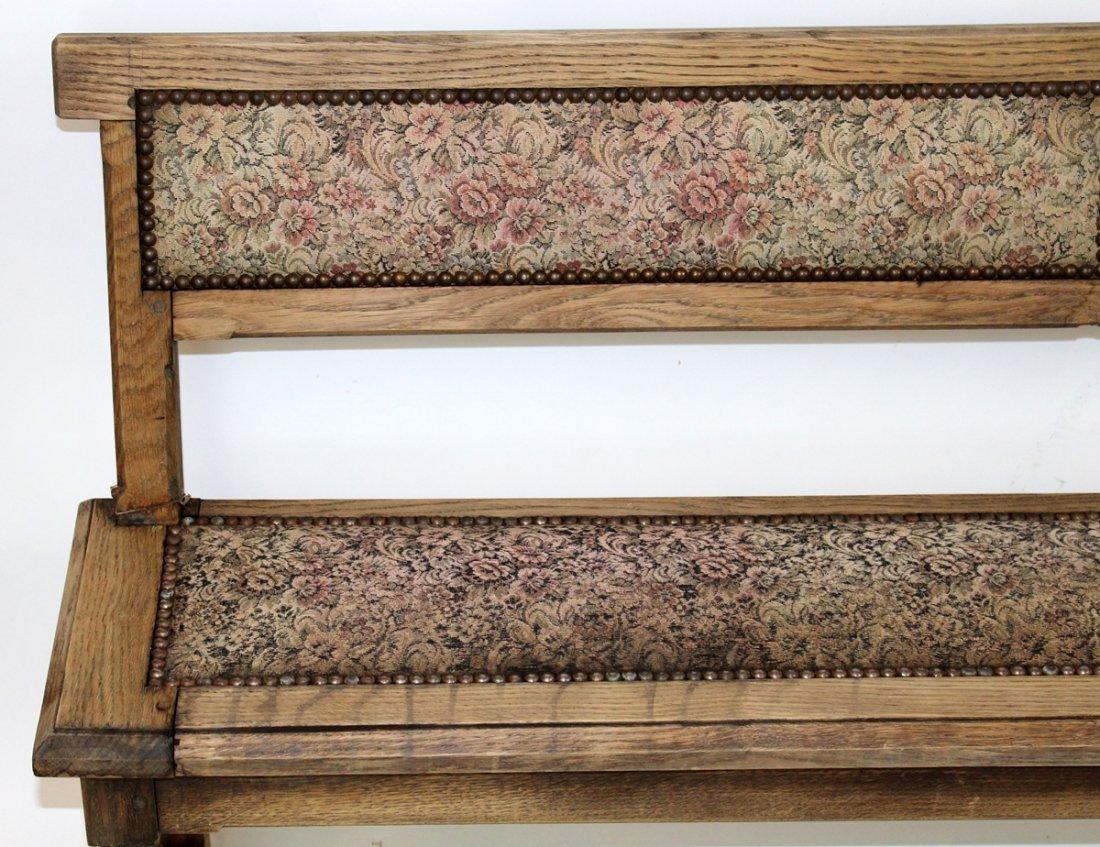 Antique French oak train bench - 3