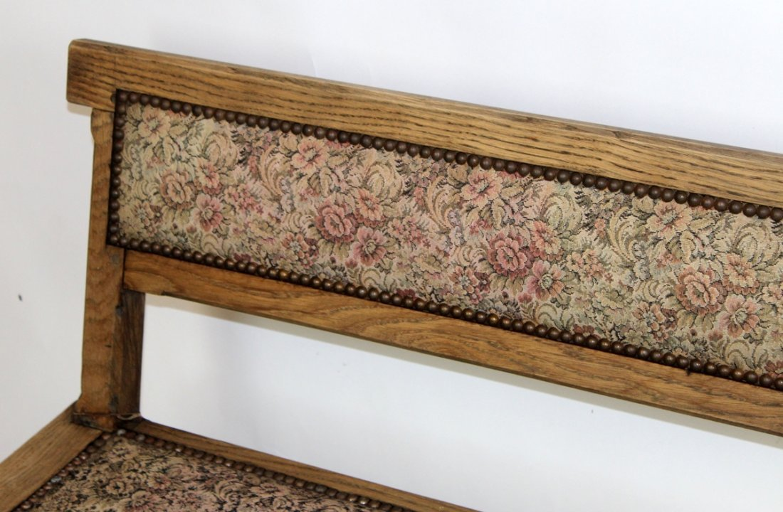 Antique French oak train bench - 4