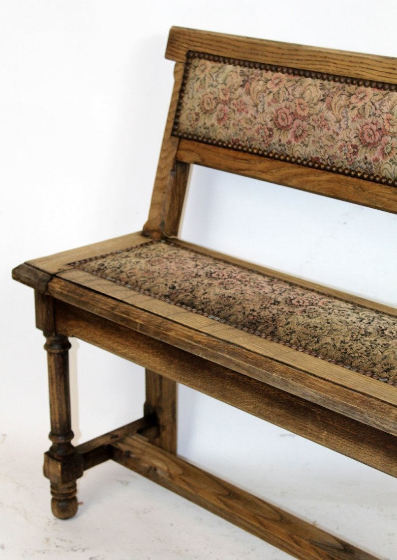 Antique French oak train bench - 5