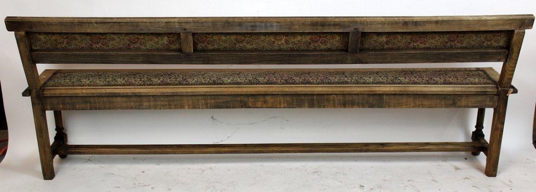 Antique French oak train bench - 6