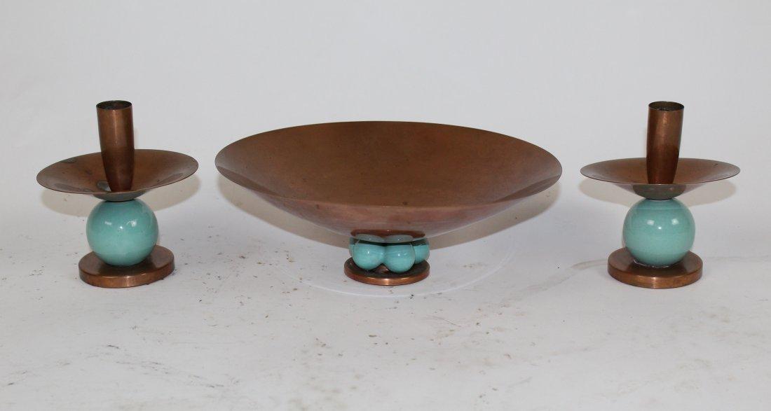 Royal Hickman copper & ceramic  candle holder & vase