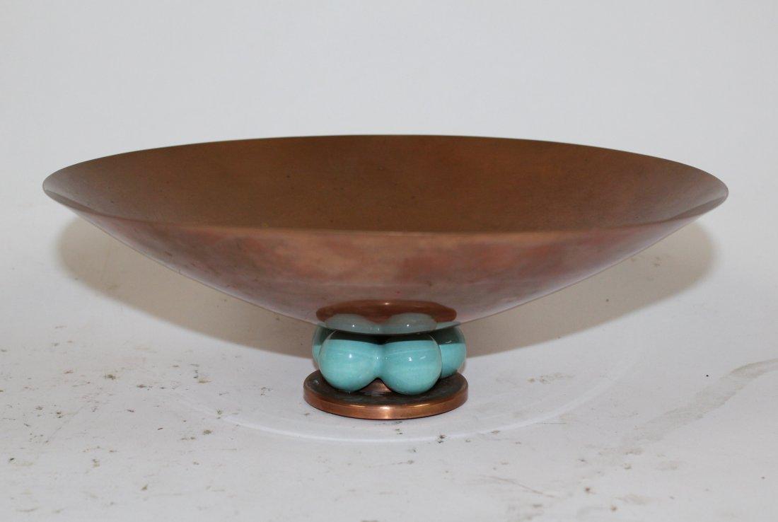 Royal Hickman copper & ceramic  candle holder & vase - 2