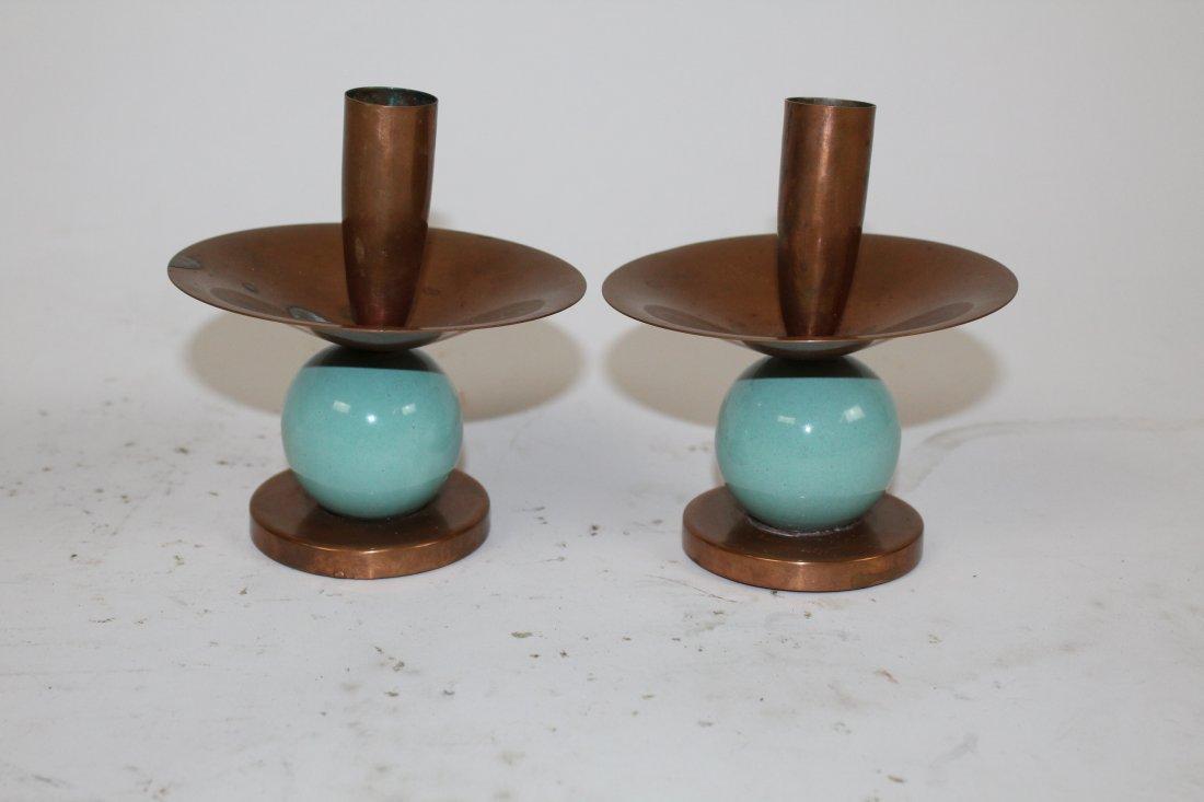 Royal Hickman copper & ceramic  candle holder & vase - 3