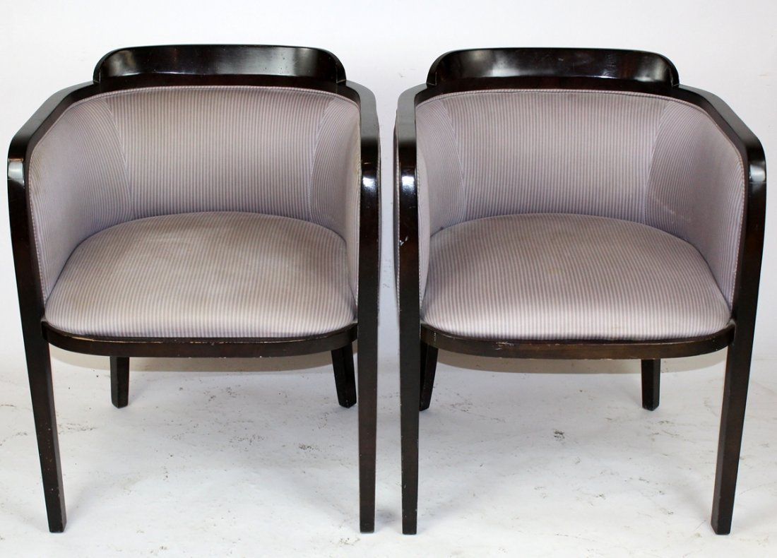 Pair Art Deco style barrel back club chairs