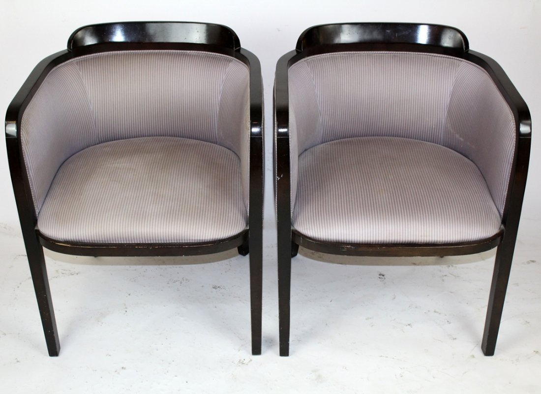 Pair Art Deco style barrel back club chairs - 2