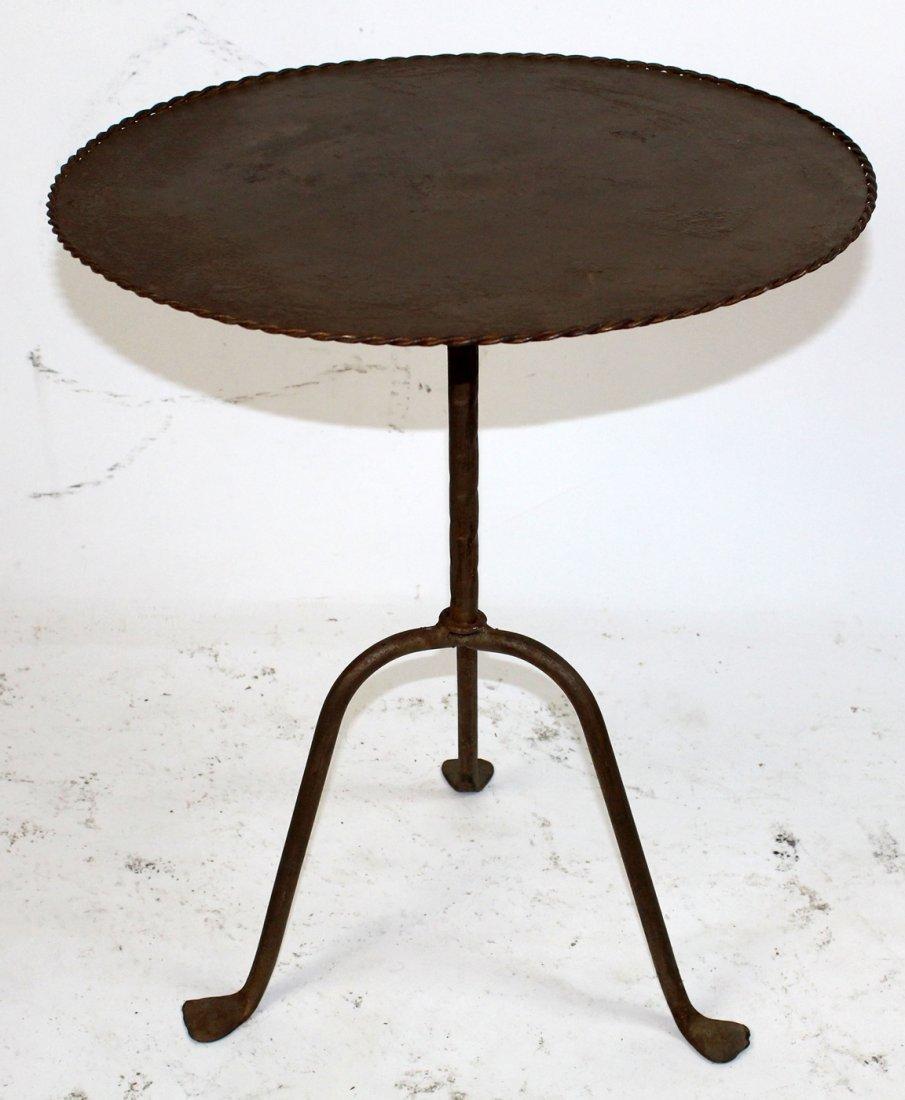 Vintage Spanish metal tapas table on tri-ped base