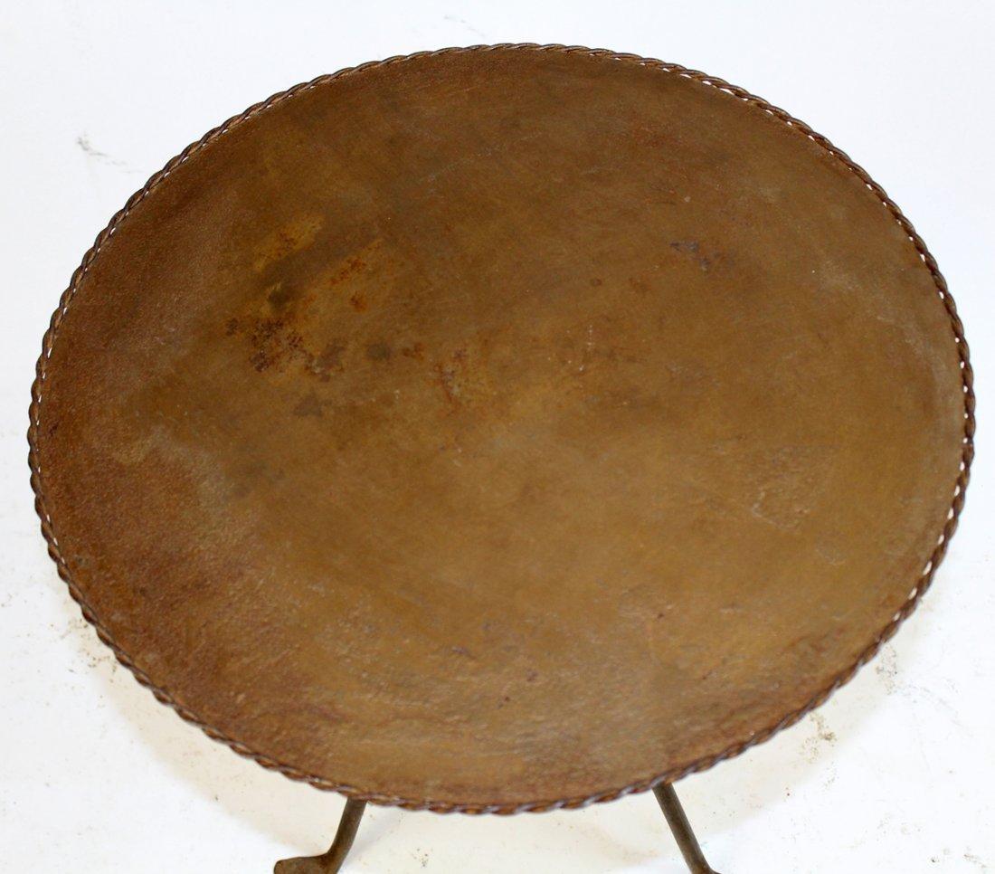 Vintage Spanish metal tapas table on tri-ped base - 2