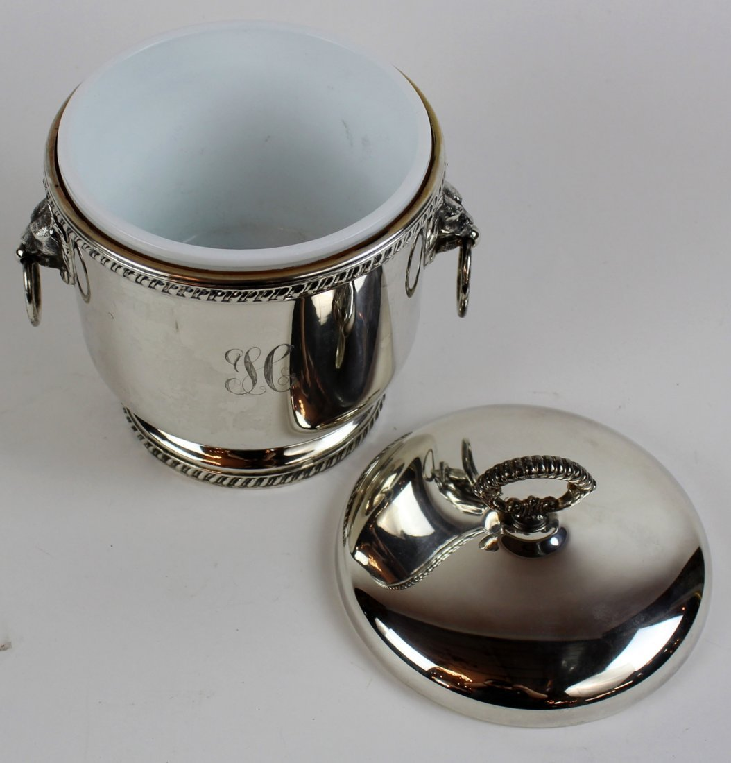 Silverplate ice bucket with lion head handles - 2