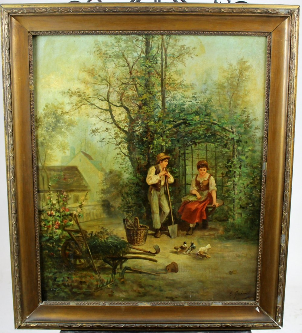 Oil on canvas landscape with peasant couple