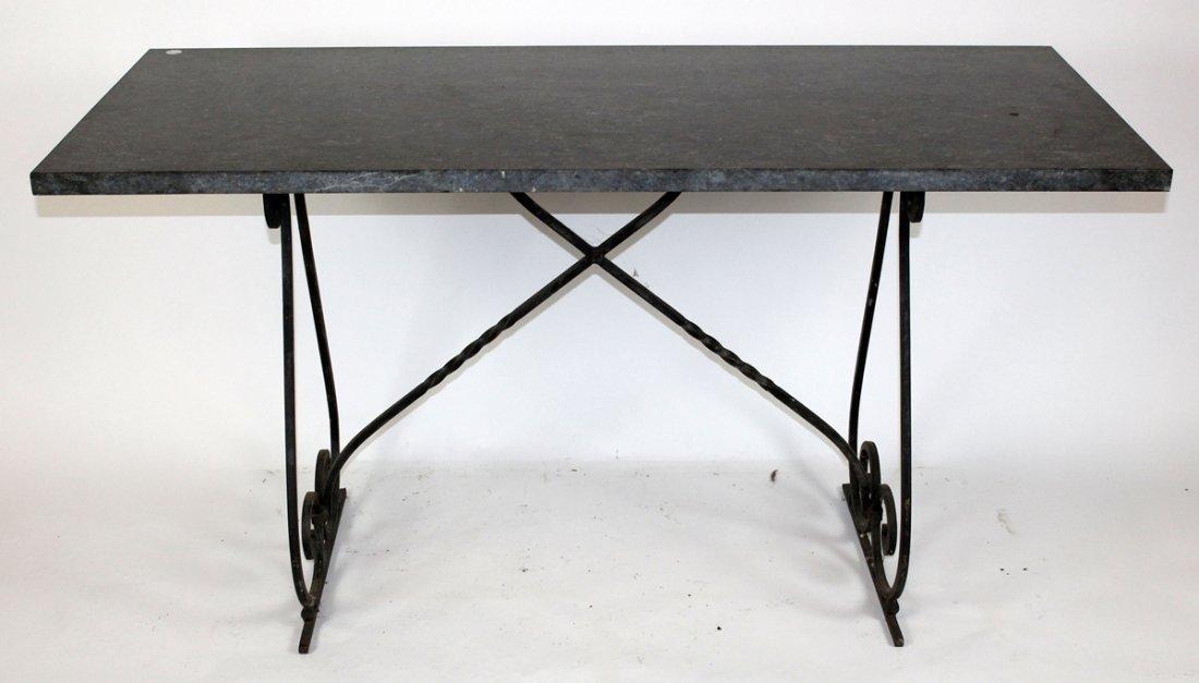 Granite top iron base table