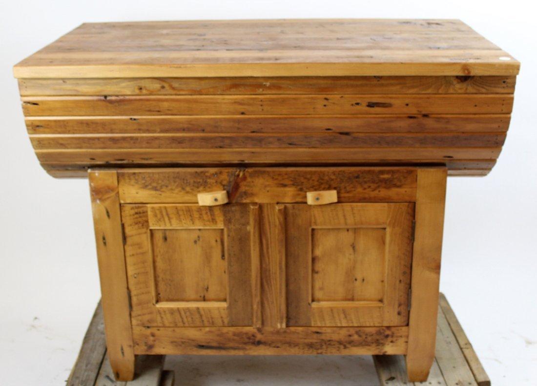 Primitive pine grain bin style console