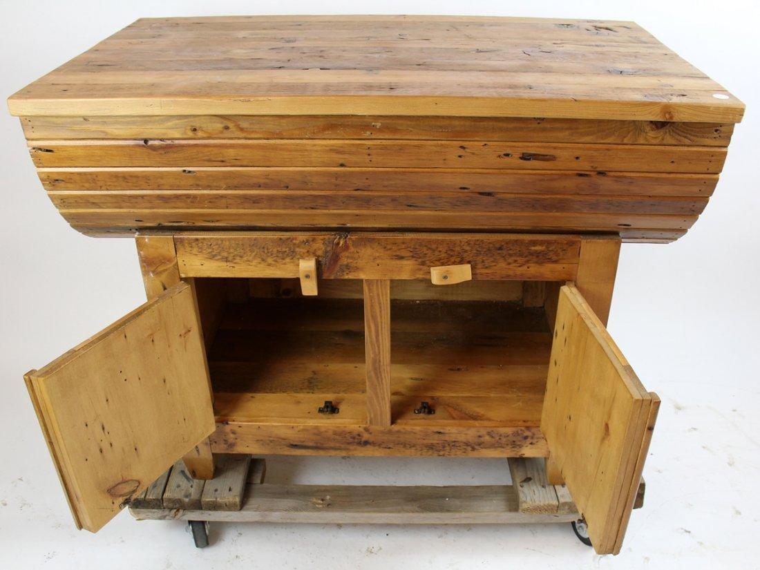 Primitive pine grain bin style console - 3