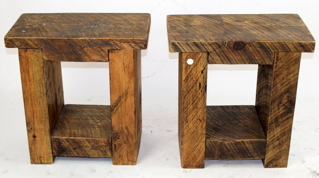 Pair primitive reclaimed pine side tables