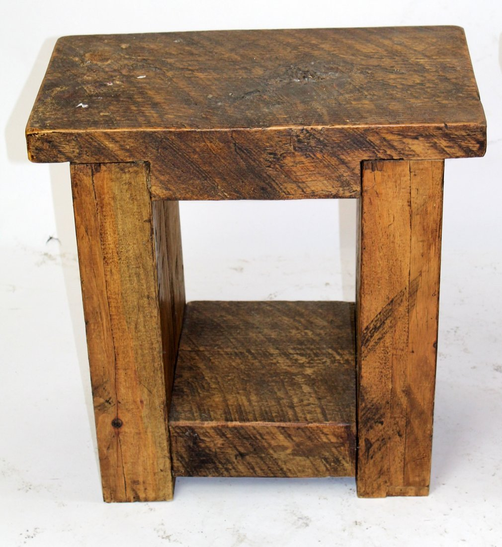 Pair primitive reclaimed pine side tables - 2